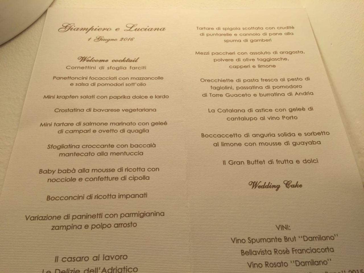 Pranzo Nuziale Puglia : Il menu delle nozze di giampiero ventura puglia mon amour
